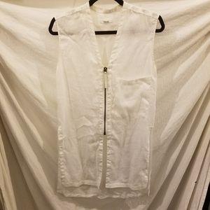 HELMUT LANG White Zippered Tunic, Petite
